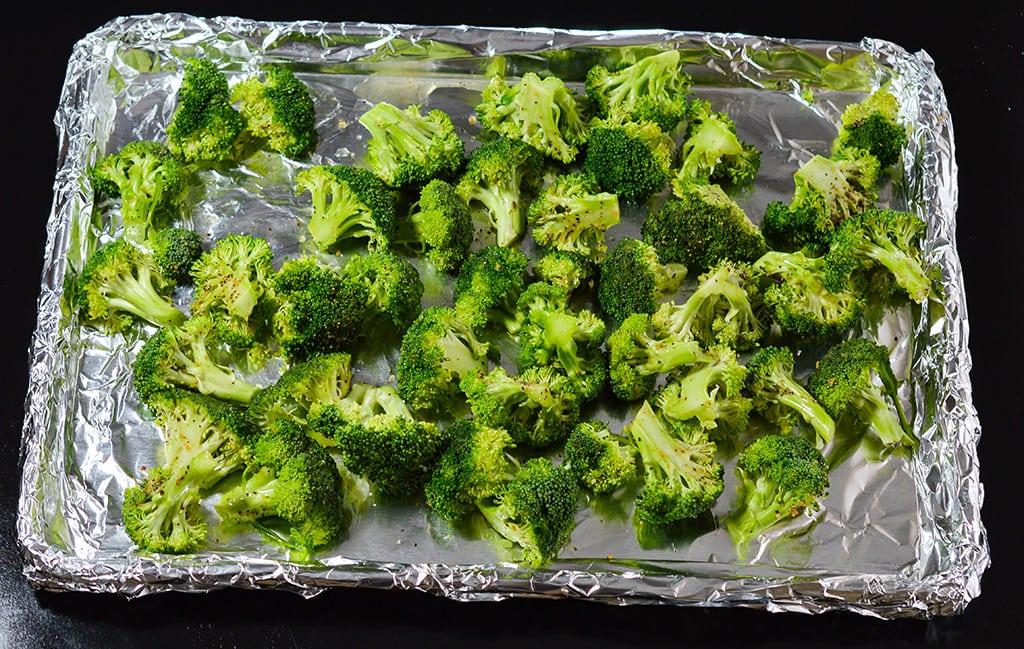 Broccoli on Baking Sheet