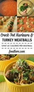 Crock-Pot Turkey & Spinach Meatballs in Marinara