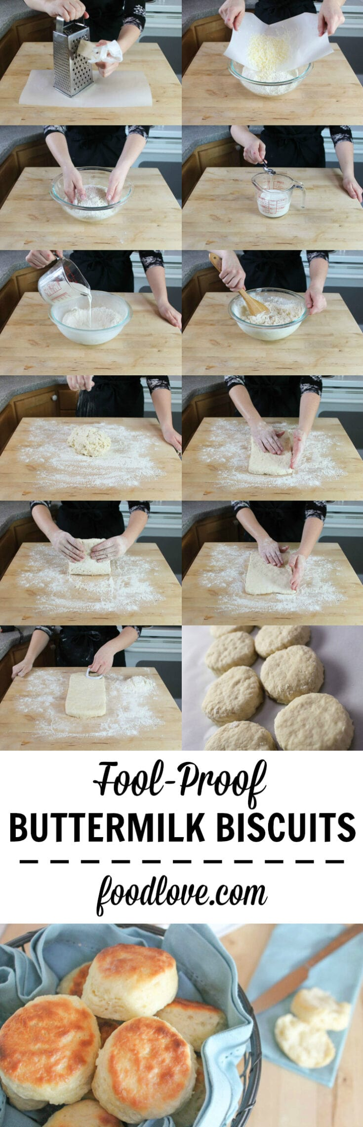 Step by step directions for making fool-proof light, flaky, buttery buttermilk biscuits from scratch. No baking mixes or canned biscuits required. #biscuits #baking #buttermilkbiscuits #homemade #fromscratch #foodlove