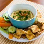 Roasted Garlic Hummus with Black Pepper Pita Chips