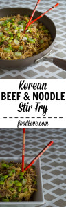 This healthy, quick and easy beef and noodle stir fry is flavored with a Korean-style cooking sauce.