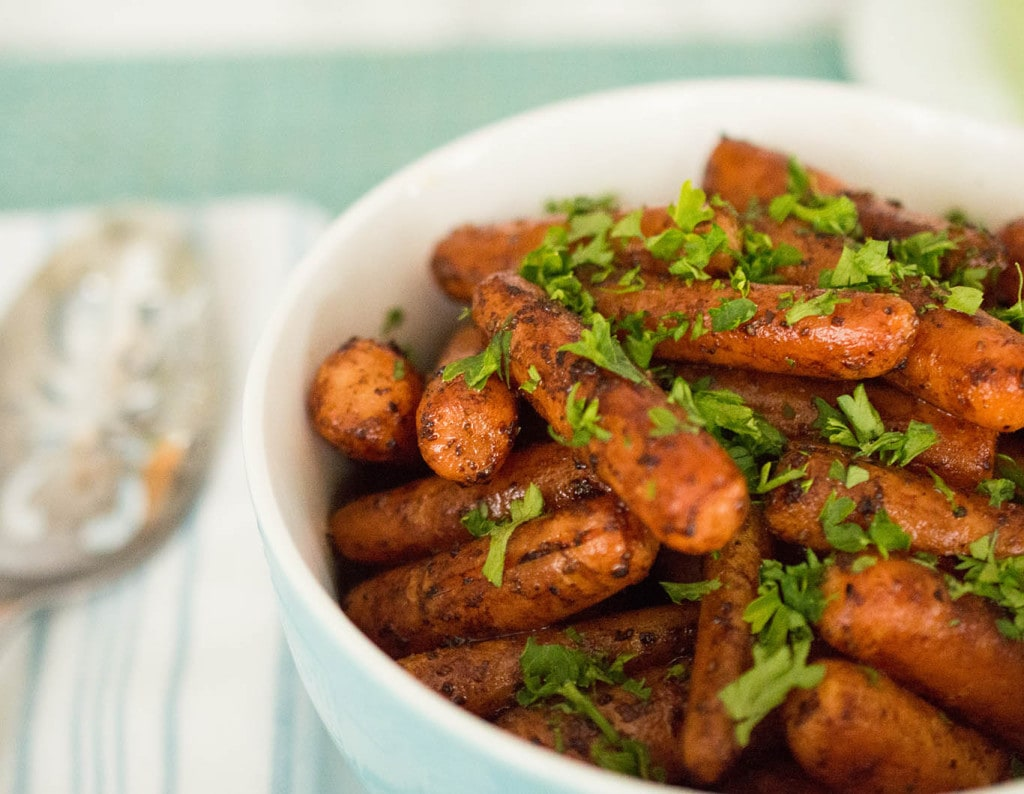 It only takes five minutes to make these sweet and tangy balsamic roasted carrots.