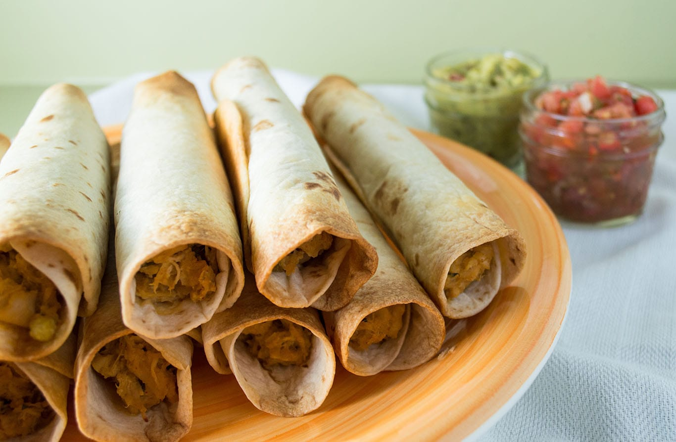 Baked Green Chile Chicken Taquitos