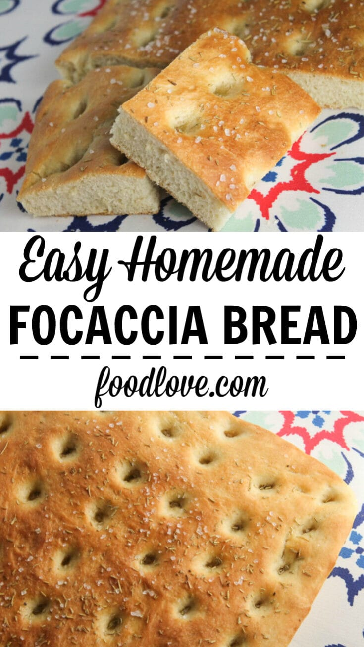 Soft and fluffy focaccia bread with rosemary and sea salt. It's so easy - perfect for a novice baker. #bread #baking #focaccia