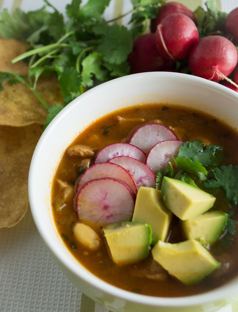 This easy red posole recipe can be made in the pressure cooker or slow cooker.