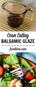 Homemade balsamic glaze made with just two simple ingredients - balsamic vinegar and honey.