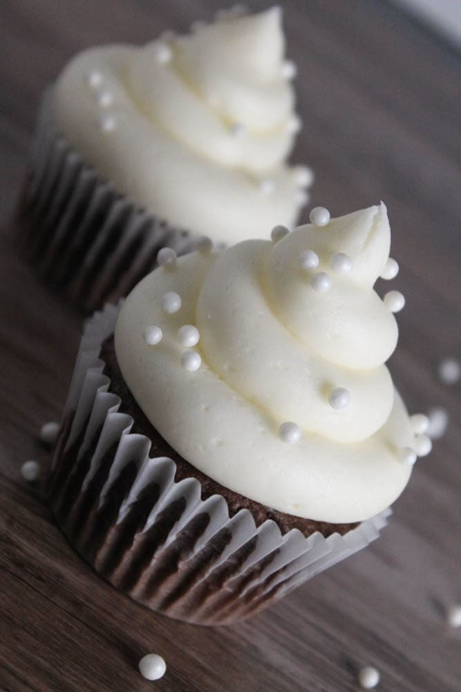 buttercream frosting on a cupcake