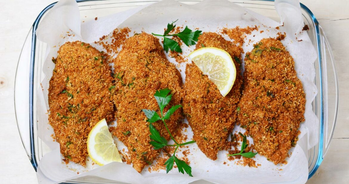 chicken breast cutlets with breadcrumbs, Parmesan and garlic