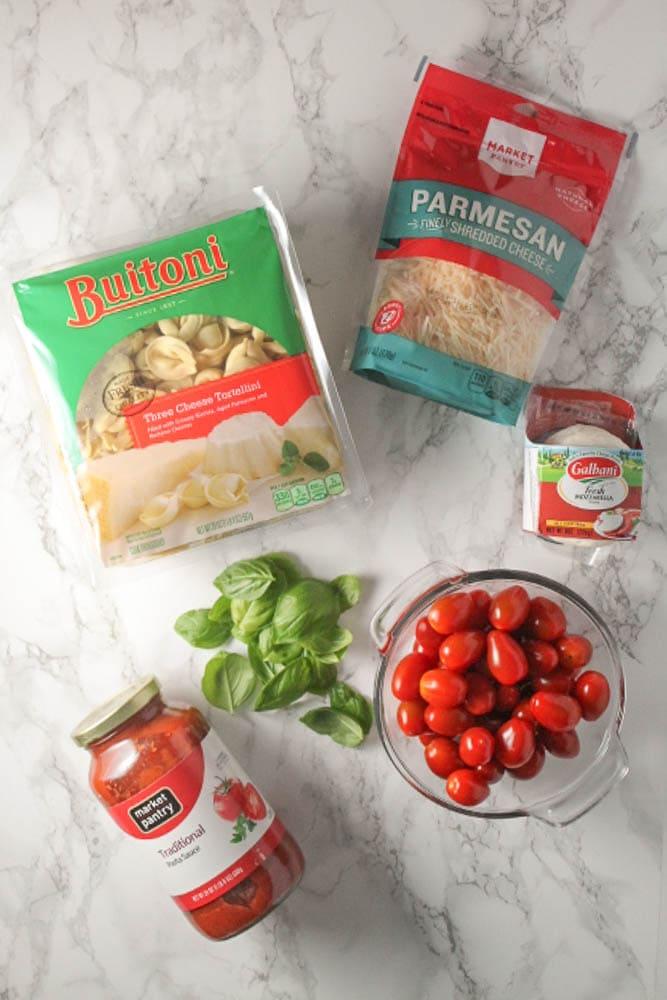 Ingredients for Baked Caprese Tortellini