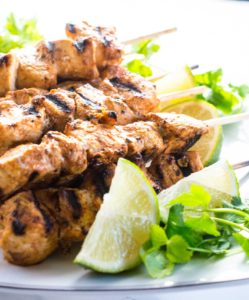 Chipotle Lime Chicken Kabobs - easy, low-calorie and yummy. Who doesn't like food on a stick?