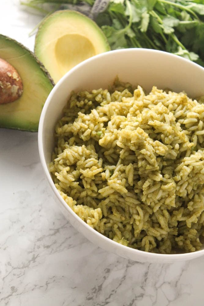 This Avocado Green Rice (Arroz Verde) is full of flavor and color. It's simple to make and is perfect for burritos, tacos, salads, or as a side dish.