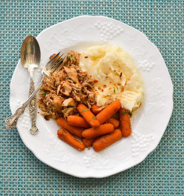 Crock-Pot Honey Balsamic Chicken and Carrots in a Plate