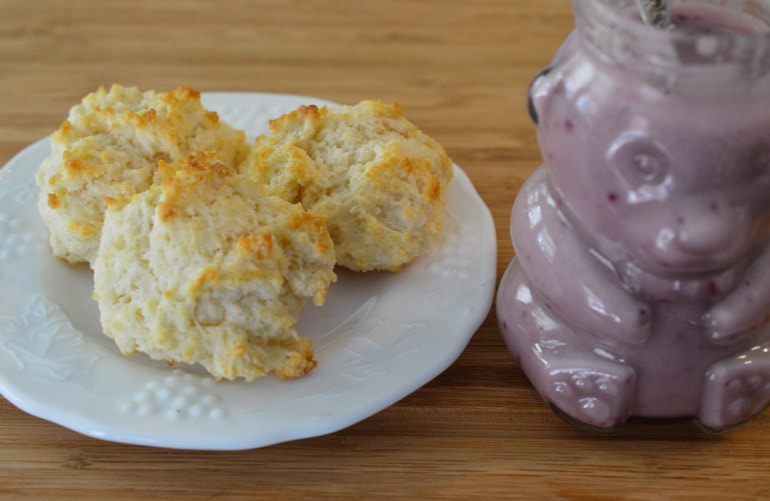 Montana huckleberry honey is a perfect topping for easy drop biscuits!