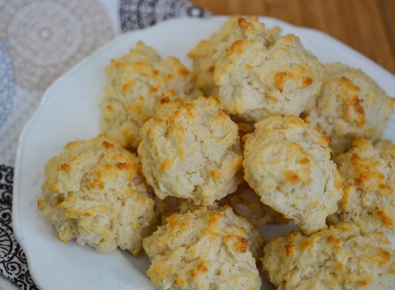 Crisp on the outside, tender and flaky on the inside, these easy drop biscuits add home-baked goodness to any meal!