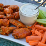Baked Buffalo Wings with Easy Blue Cheese Dip