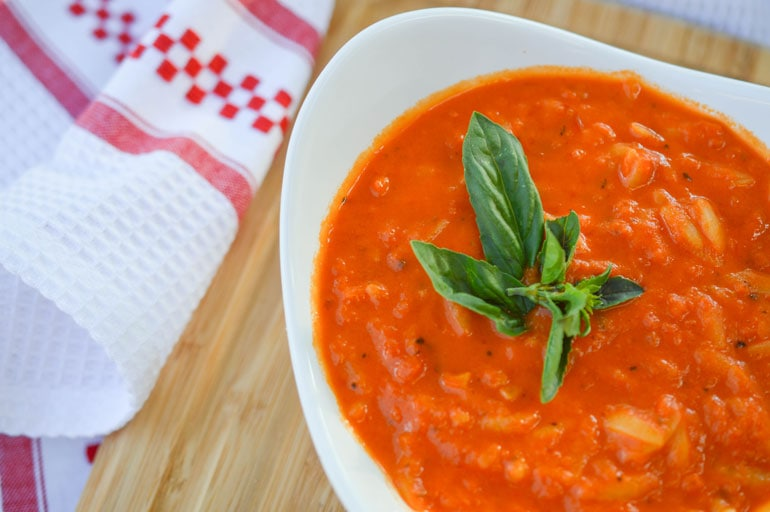 Creamy tomato basil soup with orzo is one of the easiest and best soups you will ever make!