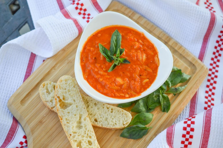 Creamy tomato basil soup with orzo is one of the best soups you will ever make!