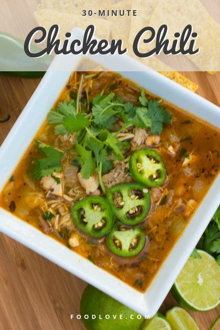 Spicy, satisfying chicken chili cooks up in just 30 minutes with only a few ingredients. It's a simple meal you can feel good about serving. #chili #souprecipes #healthysoups #healthyrecipes #healthydinners #easydinners #easydinnerideas #homemade #foodlove
