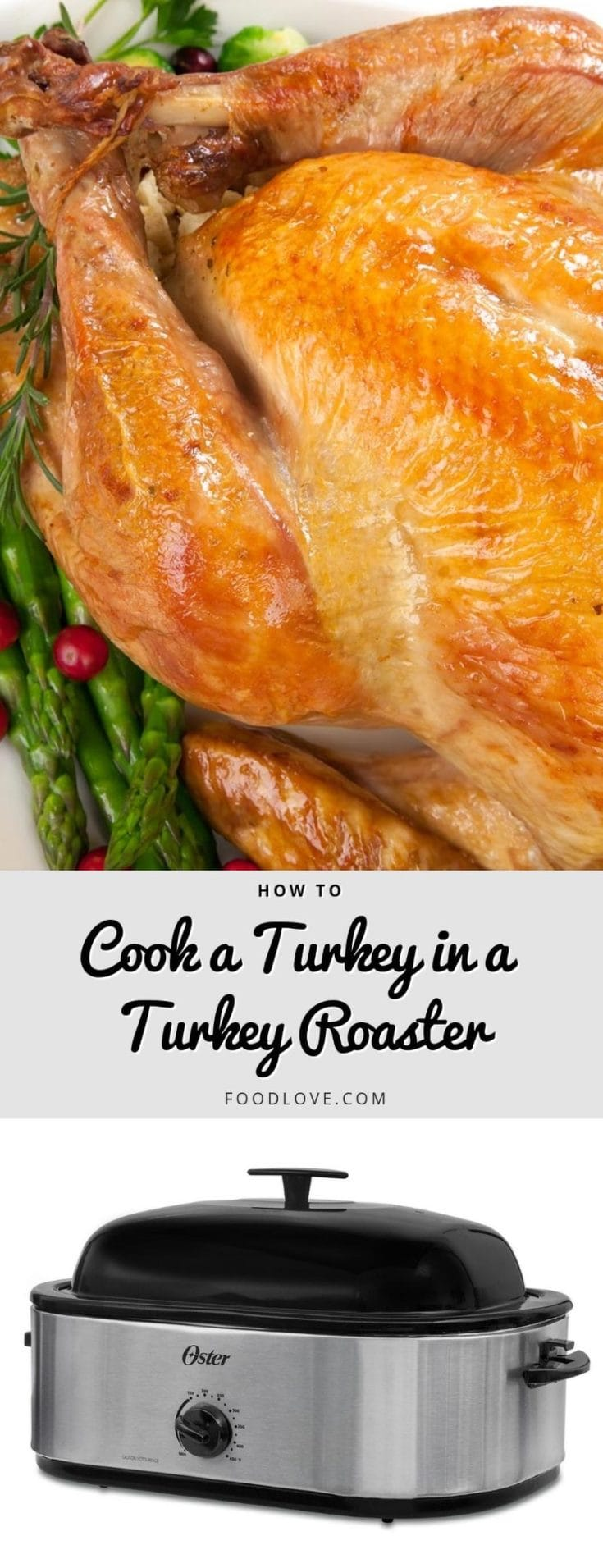 How to cook a turkey in an electric turkey roaster, with step-by-step instructions for a beautiful, juicy roast turkey every time. #thanksgiving #thanksgivingrecipes #turkey #howtoroastaturkey #turkeyhowto #electricroaster #roasteroven #foodlove