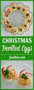 Start a healthier holiday food tradition with Christmas deviled eggs! Deviled eggs get dressed up for the holidays with red and green garnishes.