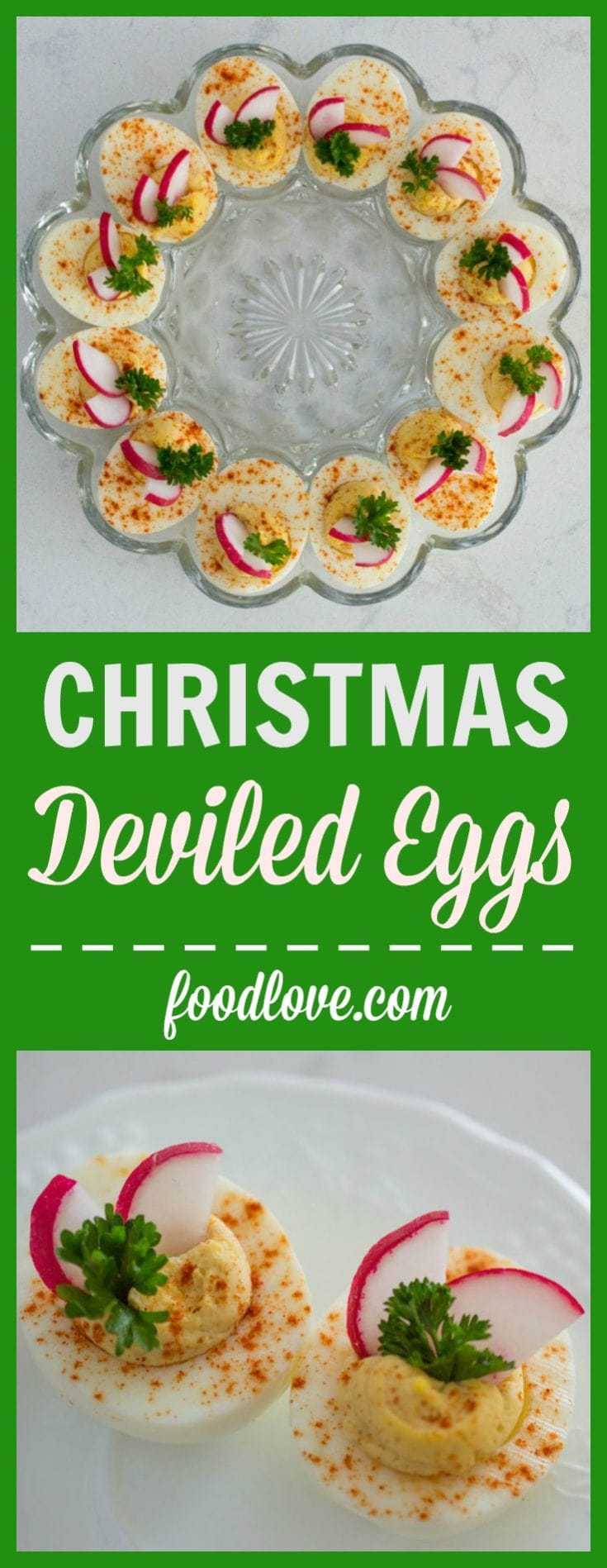 Deviled eggs get dressed up for the holidays with red and green garnishes. #deviledeggs #christmasrecipes #holidayrecipes #appetizers #holidayappetizers #christmasappetizers #lowcarb #lowcarbappetizers #glutenfree #partyfood #foodlove