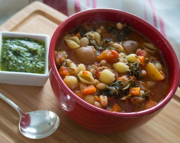 Instant Pot minestrone with sausage, kale, and pesto topping