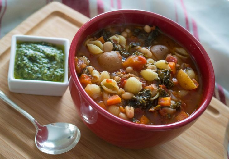 Winter Minestrone with Sausage, Kale, and Pesto Topping