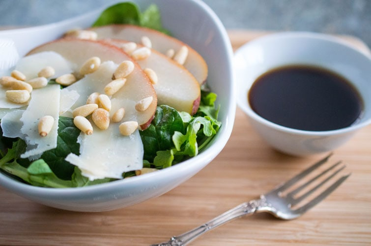 This beautiful Italian salad combines pears, shaved Parmesan and honey-balsamic vinaigrette.
