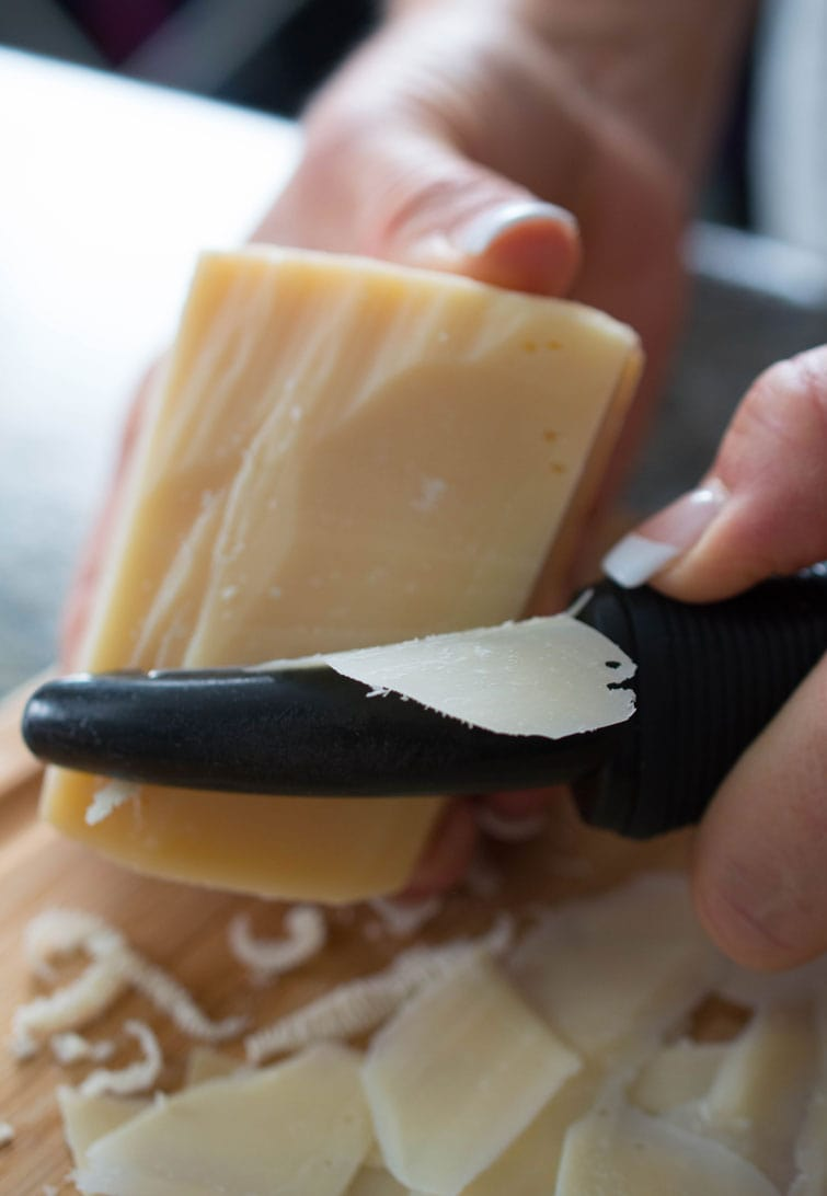 Make Parmesan shavings easily with a vegetable peeler.