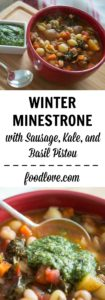 Winter minestrone with sausage, kale, and basil pistou is one of our favorite soups for cold weather. It's loaded with bold flavors and healthy veggies.