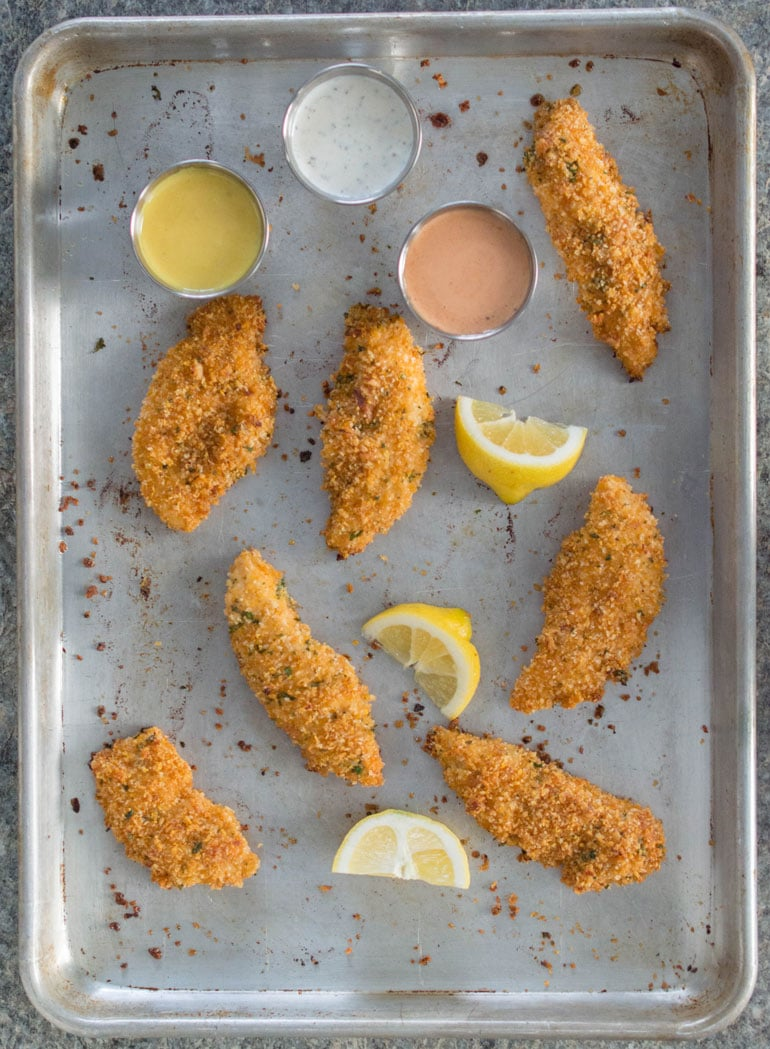 Crazy mixed-up oven fried chicken fingers are crispy, crunchy and crazy delicious!