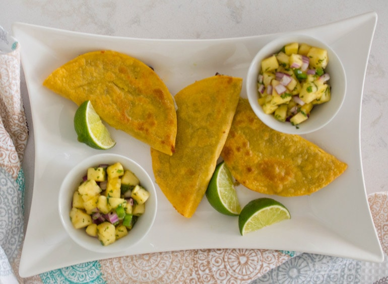 Black Bean and Avocado Rice Tacos with Pineapple Salsa