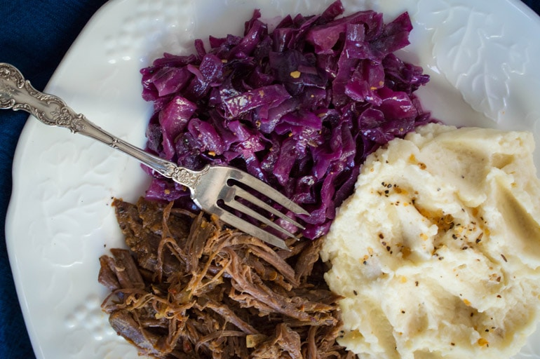 Use seasoned tri-tip from Costco for the world's easiest pot roast dinner!