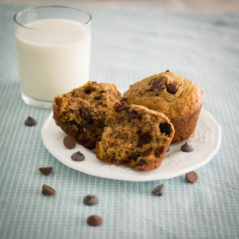 These chocolate chip banana muffins are soft, buttery, chocolatey, and a little bit decadent.