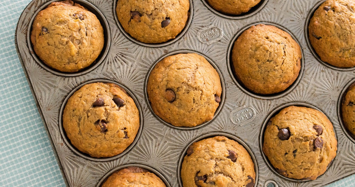 Perfect weekend banana muffins are soft, buttery and loaded with chocolate chips!