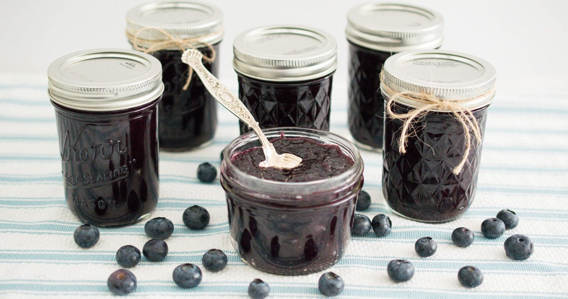 Low Sugar Blueberry Jam in Jars