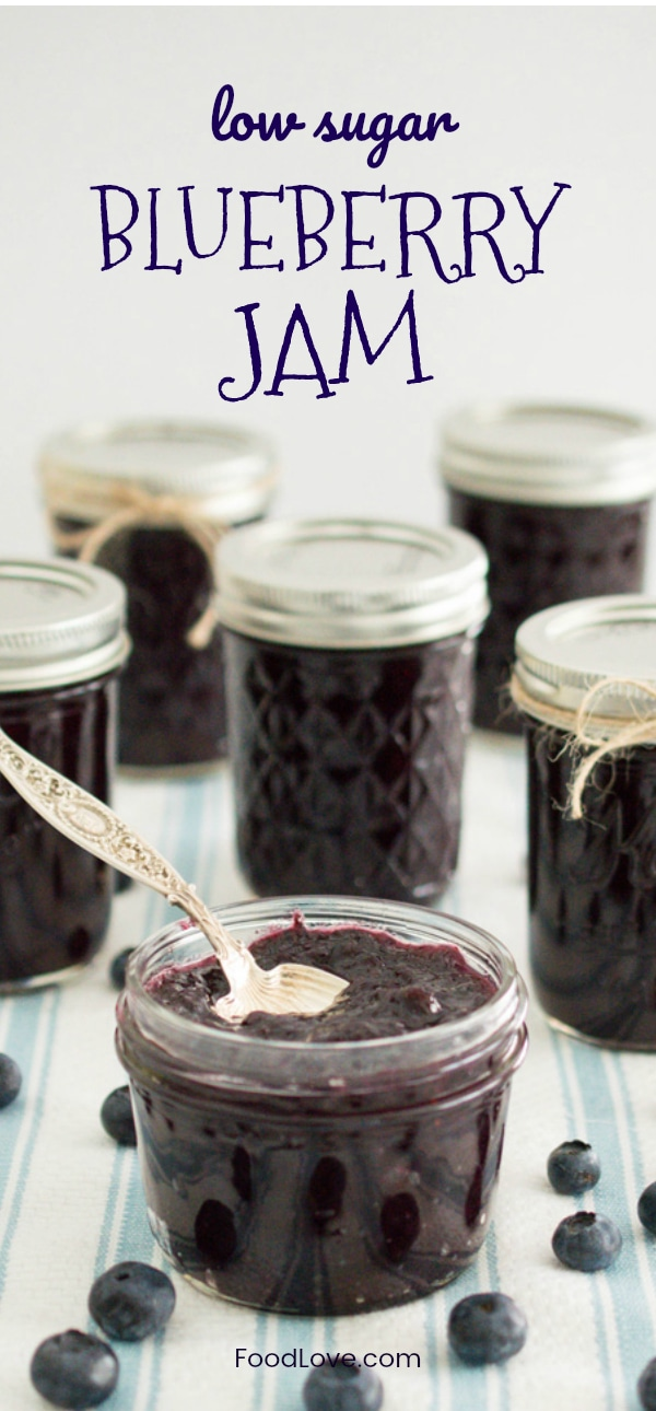 It's easy to make your own low sugar blueberry jam, with tons of fresh fruit flavor! Try it, and you'll never want to go back to store bought! Can be made with fresh or frozen berries. #homemade #jam #canning #blueberries #homemadejam #foodlove