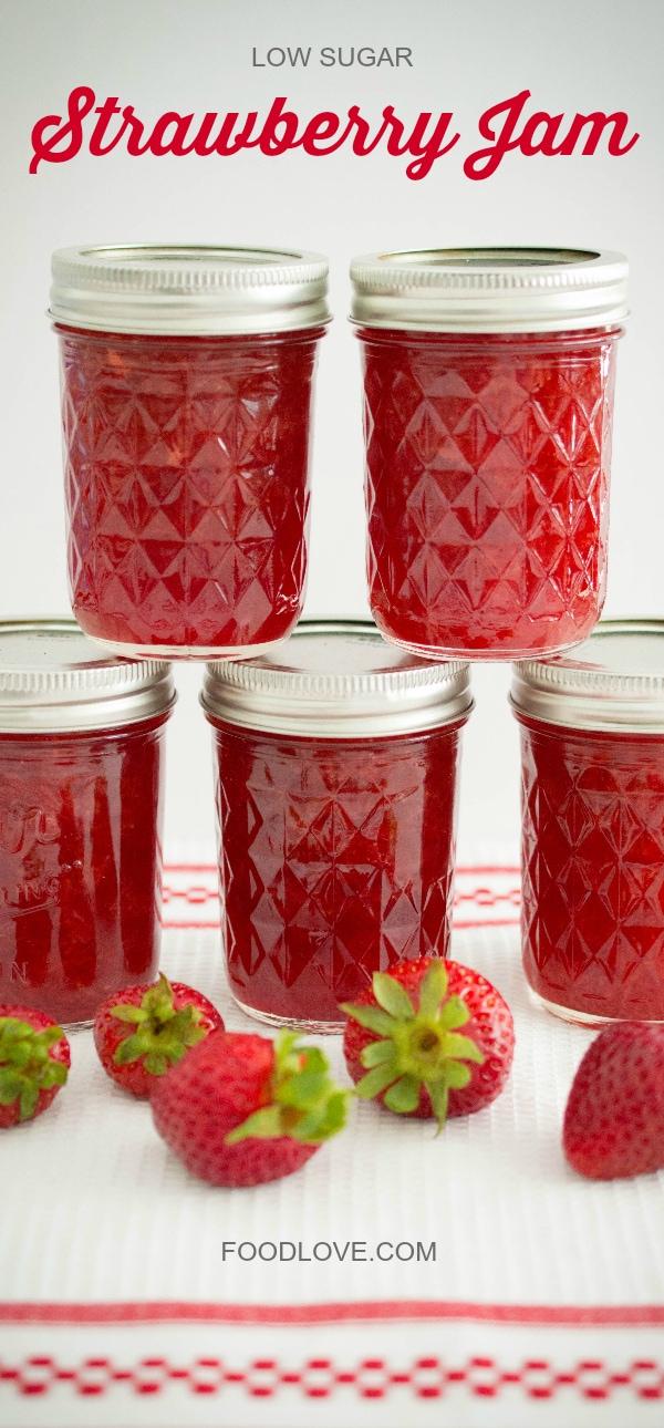 Low-Sugar Strawberry Jam in Mason Jars