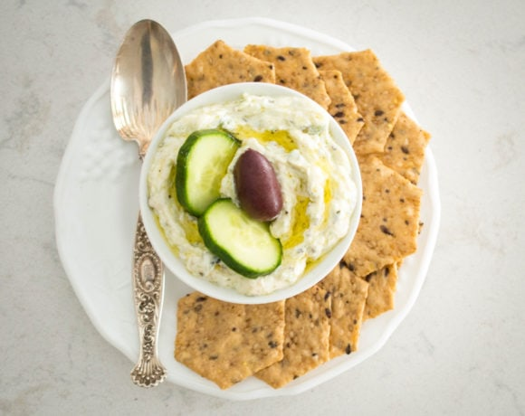 Classic Greek tzatziki sauce combines tangy yogurt, with fresh cucumber and mint, rich olive oil and a hint of garlic.