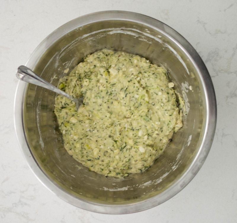 Greek Zucchini Balls Ingredient in a mixing bowl