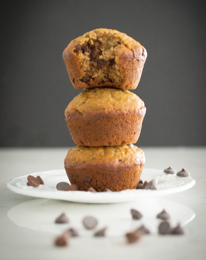 Soft, buttery and full of chocolate chips, these banana muffins are perfect for weekends or any time.