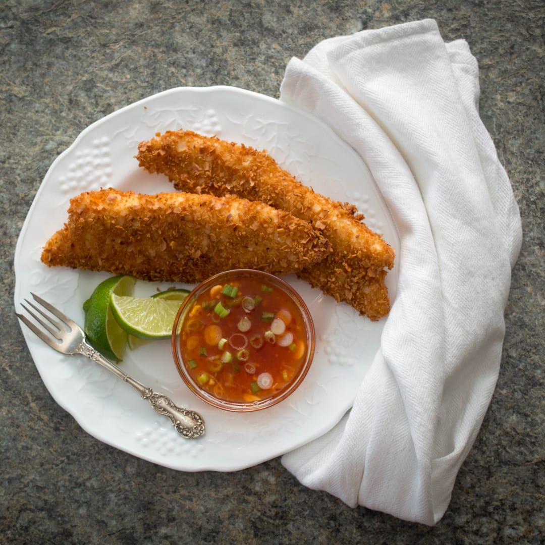 Crispy Coconut Lime Tilapia with Sweet Chili Sauce