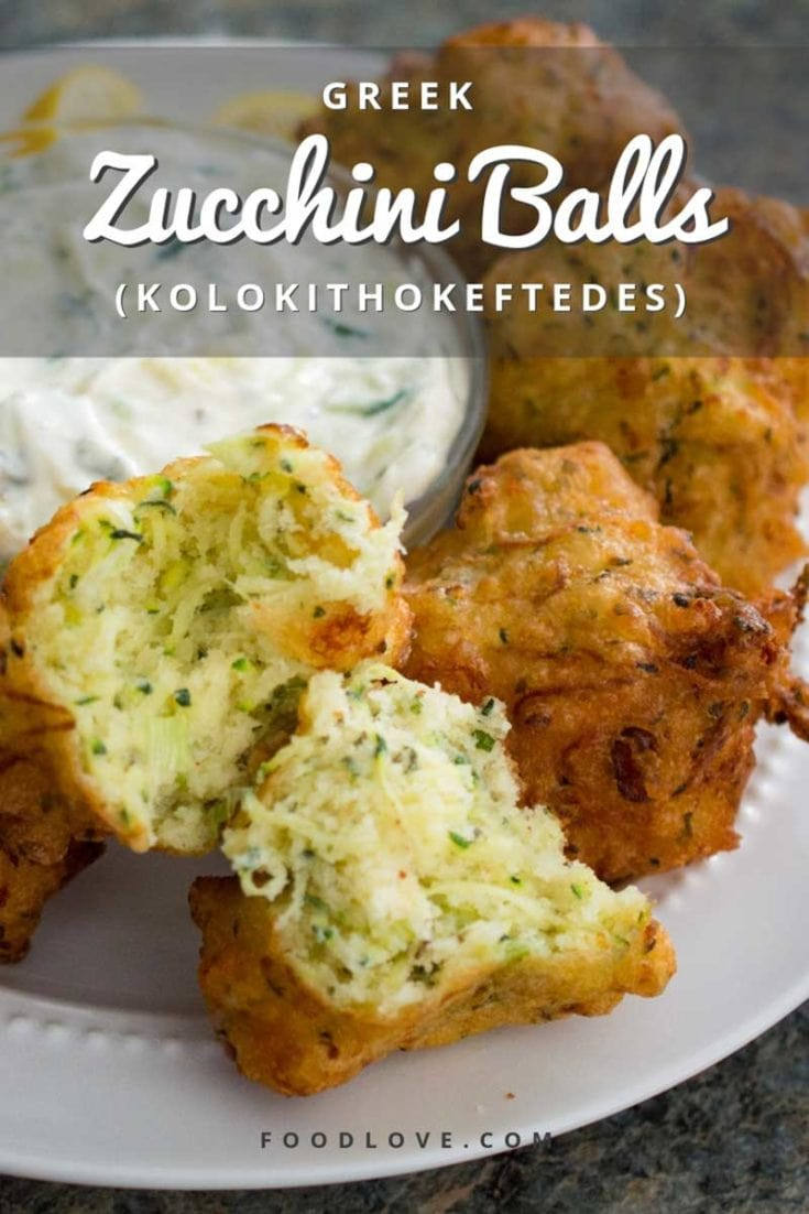 Greek zucchini balls (kolokithokeftedes) are crisp on the outside and fluffy on the inside, flavored with salty feta and fresh mint. Perfect as a party appetizer or a light meal. Authentic Greek recipe. #appetizers #zucchini #zucchinirecipes #greekfood #greekfoodrecipes #gameday #gamedayappetizer #veggielove #foodlove