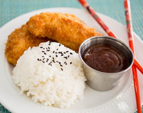 Katsu chicken is a simple Japanese version of fried chicken that kids love, and adults love it too! Coated with crunchy panko bread crumbs and served with a sweet and salty Japanese barbecue sauce, this is chicken fingers taken to the next level.