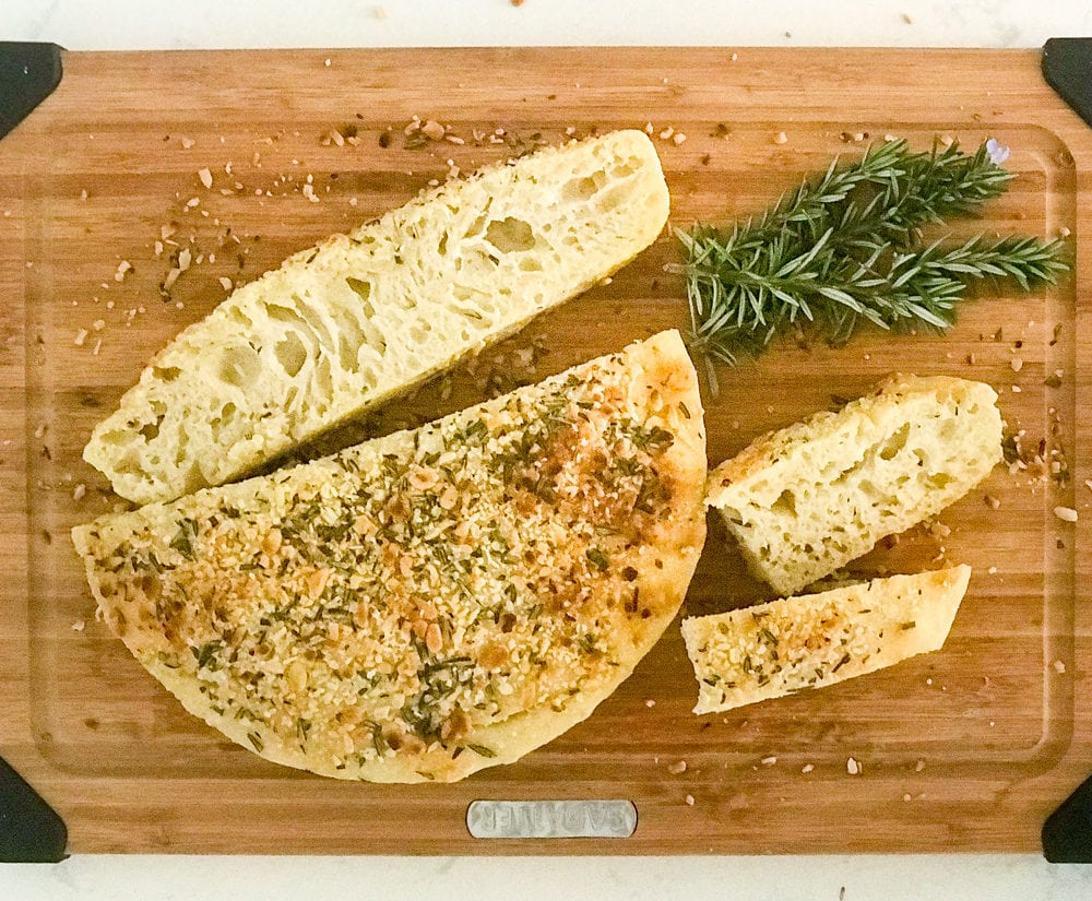 No-Knead Skillet Focaccia with Rosemary and Pine Nuts