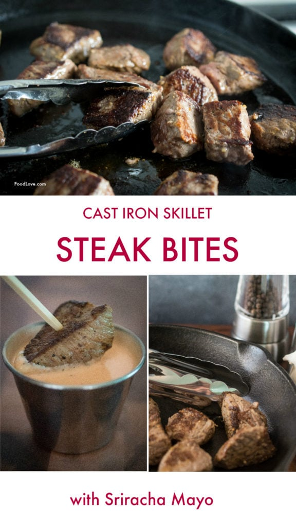 Steak bites cooked in a cast iron skillet, with Sriracha mayo dipping sauce
