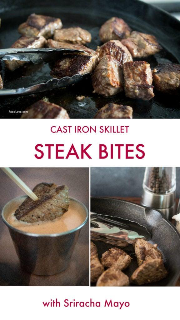 Cast Iron Skillet Steak Bites with Sriracha Mayo