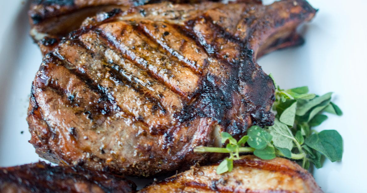 Greek grilled pork chops