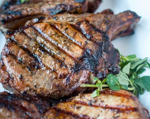 Greek grilled pork chops