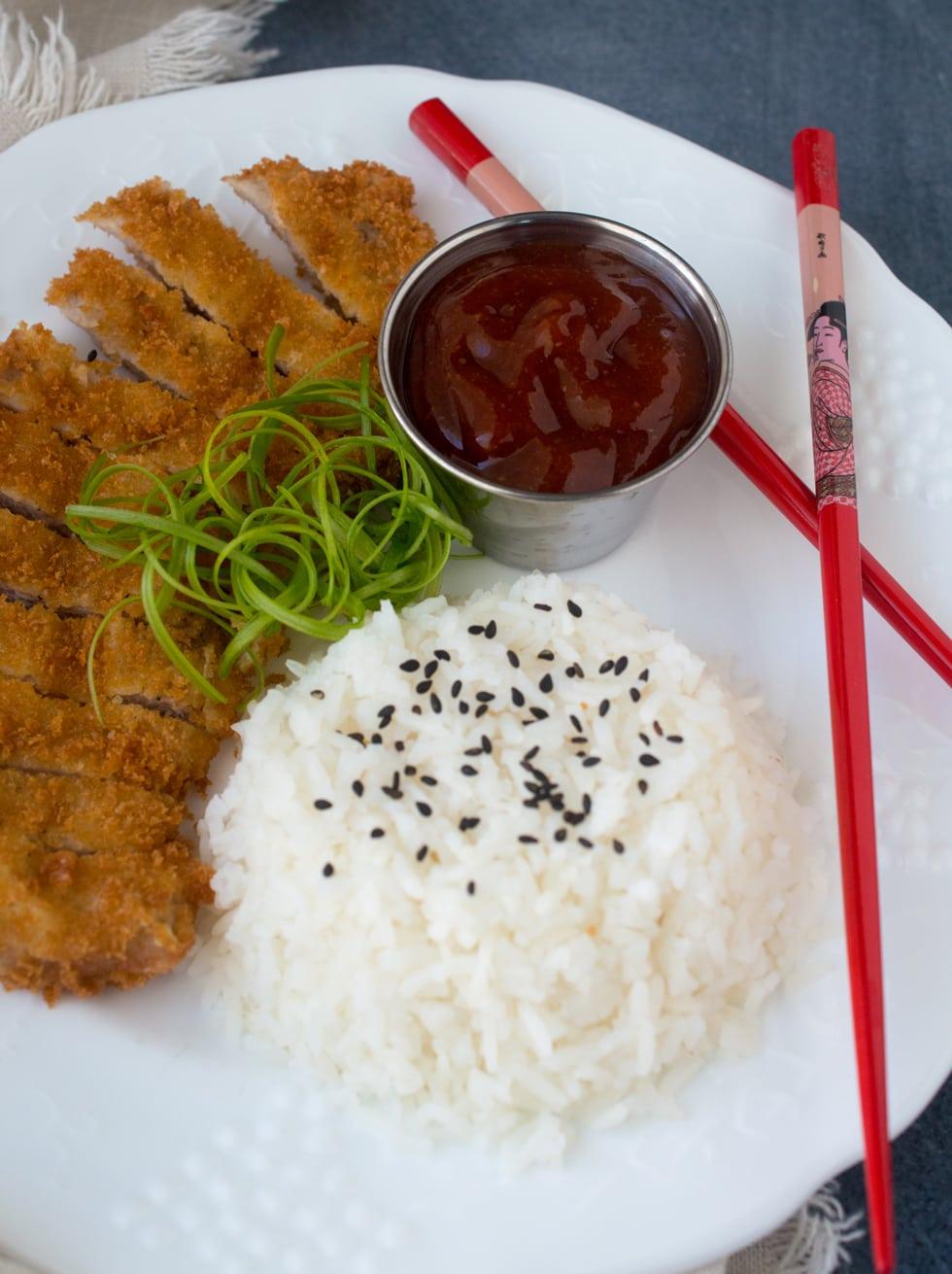 Pork Katsu (Tonkatsu) with Japanese Barbecue Sauce (Tonkatsu Sauce)